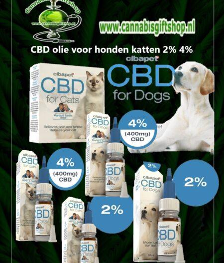 CBD olie voor honden katten 2% 4%