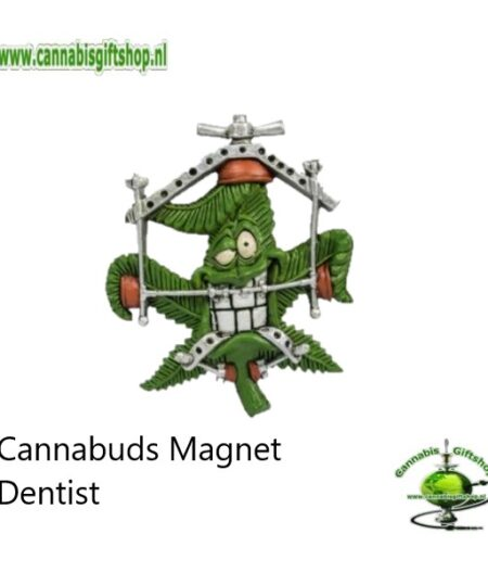 Extra informatie: Made from 100% flexible PVC Lightweight and portable Easy to clean Powerful magnet Design: Collection Cannabuds Characters Magnet Inhoud: Cannabuds Magnet Dentist