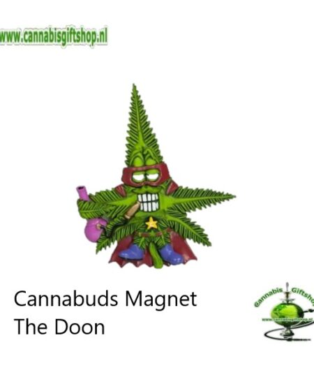 Extra informatie: Made from 100% flexible PVC Lightweight and portable Easy to clean Powerful magnet Design: Collection Cannabuds Characters Magnet Inhoud: Cannabuds Magnet The Doon