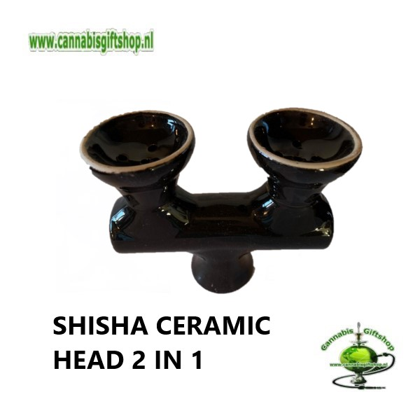 SHISHA CERAMIC HEAD 2 IN 1 Zwart