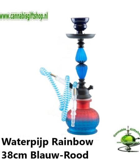Waterpijp Rainbow 38cm Blauw-Rood