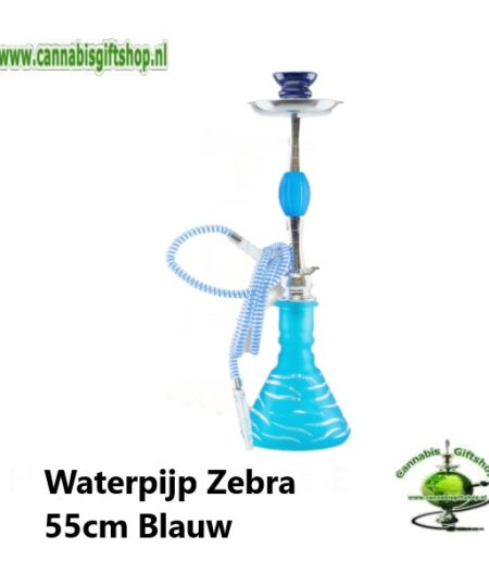 Waterpijp Zebra 55cm Blauw